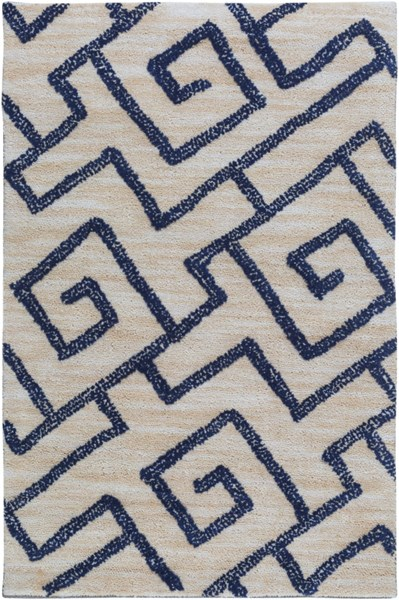 Ameila Contemporary Light Gray Navy Polyester Area Rug (L 36 X W 24) AME2241-23
