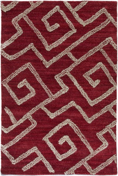 Ameila Contemporary Burgundy Taupe Polyester Area Rug (L 36 X W 24) AME2242-23
