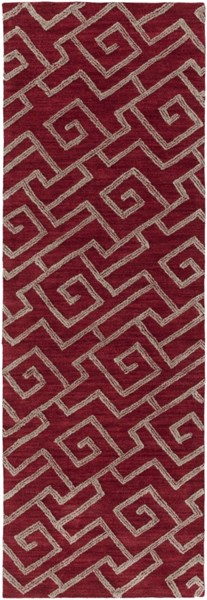 Ameila Contemporary Burgundy Taupe Polyester Runner (L 90 X W 60) AME2242-2676