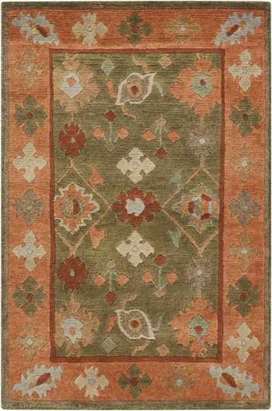 Anastacia Olive Cherry Mocha Semi-Worsted New Zealand Wool Rug ANASTACIA-DCR-BNDL