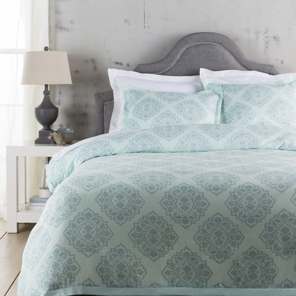 Anniston Contemporary Aqua Fabric Cotton King Duvet (L 92 X W 108) ANN7000-K