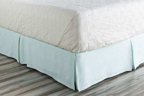 Anniston Aqua Fabric Cotton King Bed Skirt (L 80 X W 78 X H 15) ANN7000-KSKT
