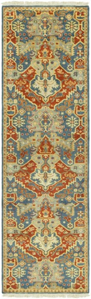 Antolya Contemporary Rust Olive Gold Wool Runner (L 96 X W 30) ANT9712-268