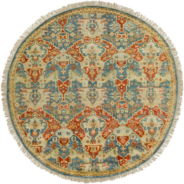 Surya Antolya  Sky Blue Orange Wheat Green NZ Wool Round Area Rug - 96x96 ANT9712-8RD