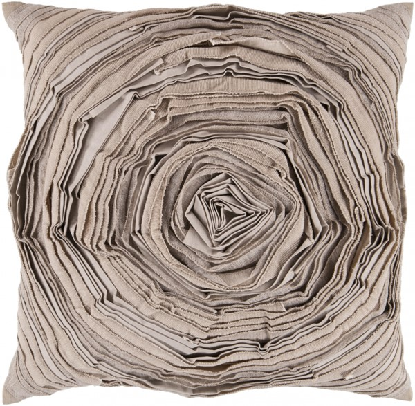 Rustic Romance Beige Fabric Zipper Closure Throw Pillow AR002-1818D