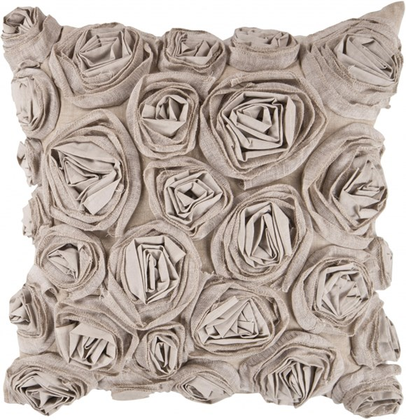Rustic Romance Beige Fabric Throw Pillow (L 18 X W 18 X H 4) AR003-1818D