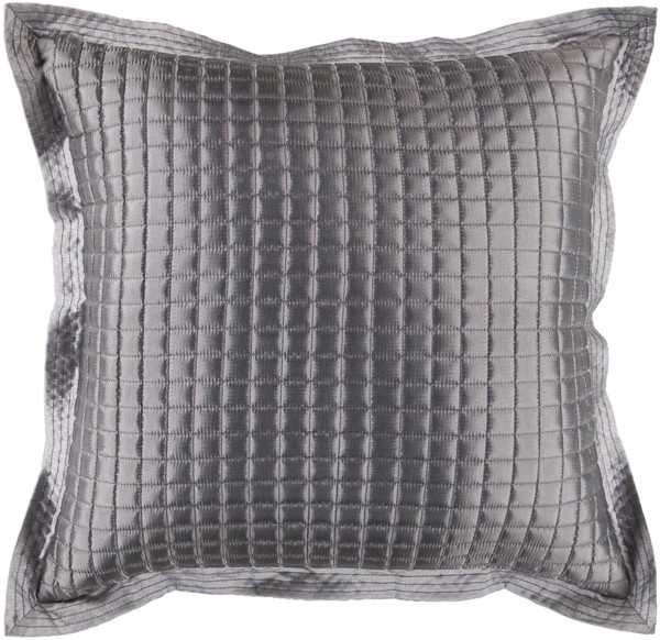 Quilted Gray Polyester Poly Throw Pillow - 22x22x5 AR005-2222P