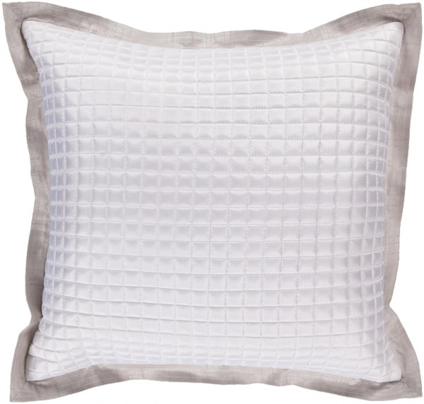 Quilted Light Gray Polyester Poly Throw Pillow - 22x22x5 AR010-2222P