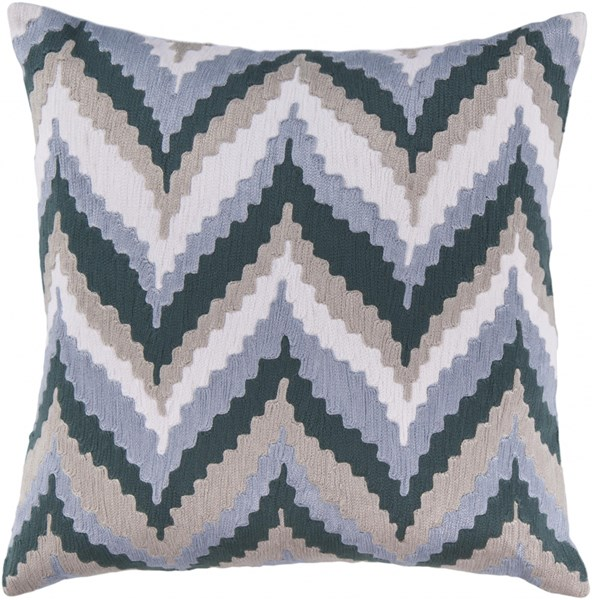 Ikat Chevron Navy Slate Beige Cotton Poly Throw Pillow - 22x22x5 AR053-2222P