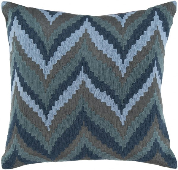 Ikat Chevron Slate Teal Gray Cotton Down Throw Pillow - 22x22x5 AR054-2222D