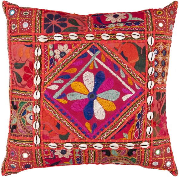 Karma Cherry Rust Hot Pink Cotton Poly Throw Pillow - 18x18x4 AR070-1818P