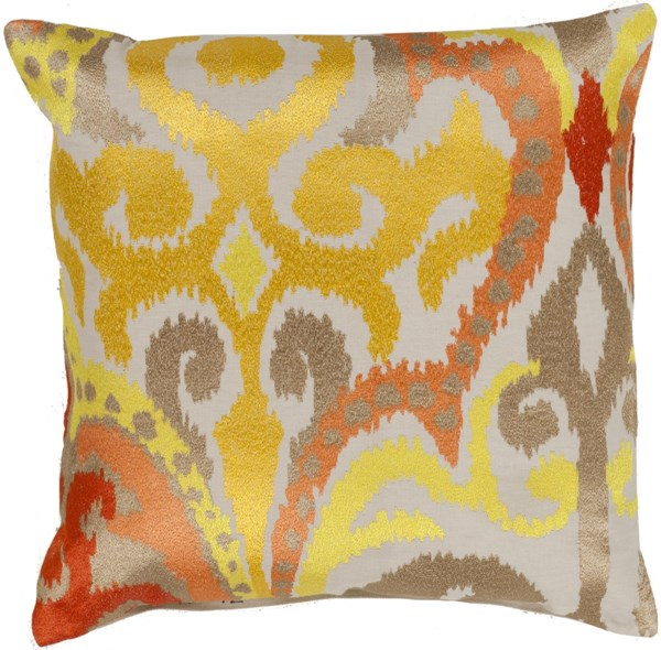 Ara Sunflower Poppy Orange Poly Polyester Throw Pillow - 22x22x5 AR072-2222P