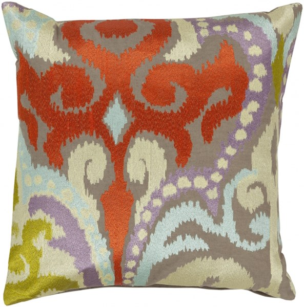 Ara Olive Poppy Coral Down Olive Polyester Throw Pillow - 20x20x5 AR073-2020D