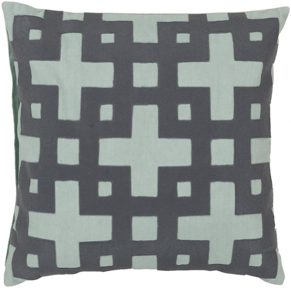 Layered Blocks Slate Mint Down Cotton Throw Pillow - 22x22x5 AR085-2222D