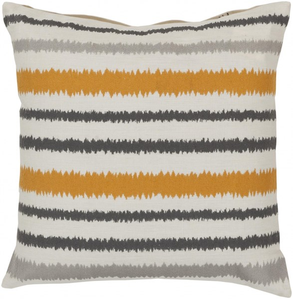Ikat Stripe Ivory Gray Orange Down Linen Throw Pillow - 22x22x5 AR103-2222D