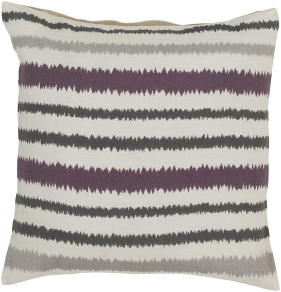 Ikat Stripe Ivory Gray Eggplant Down Linen Throw Pillow - 18x18x4 AR105-1818D