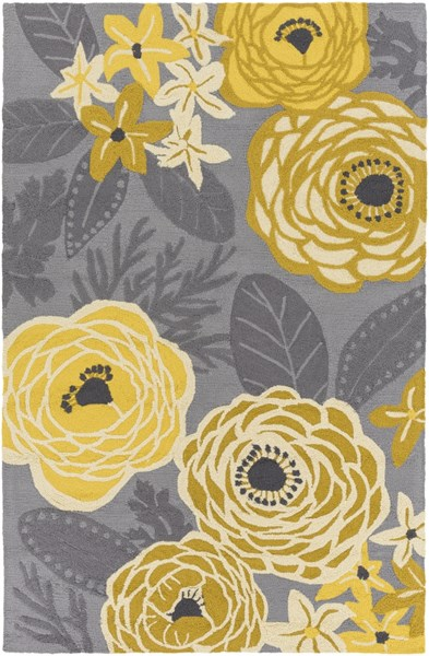 Aura Gold Beige Gray Charcoal Black Polypropylene Area Rug - 60 x 90 ARA2007-576