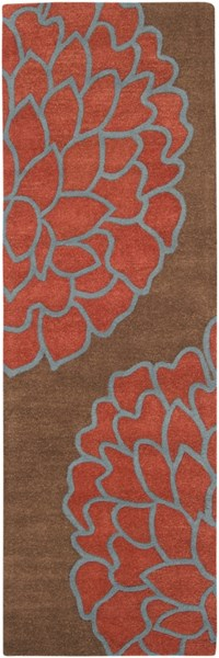 Artist Studio Mocha Rust Cobalt New Zealand Wool Runner - 30 x 96 ART206-268