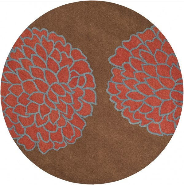 Artist Studio Mocha Rust Cobalt New Zealand Wool Round Area Rug-96x96 ART206-8RD