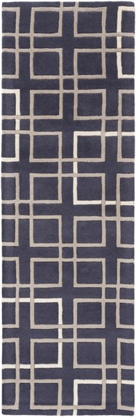 Artist Studio Navy Taupe Ivory New Zealand Wool Runner - 30 x 96 ART237-268