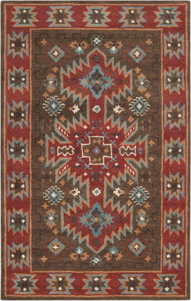 Surya Arizona Dark Brown Rust Aqua Khaki Wool Area Rug - 63x39 ARZ1004-3353