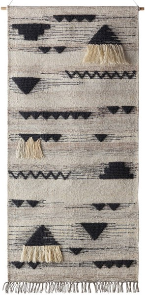 Surya Asher Cream Wool Fringe Wall Hangings - 30x60 ASE3002-265