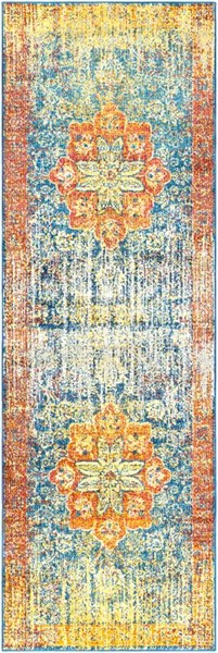 Surya Aura Silk Bright Yellow Saffron Blue Polypropylene Runner - 90x31 ASK2304-2776