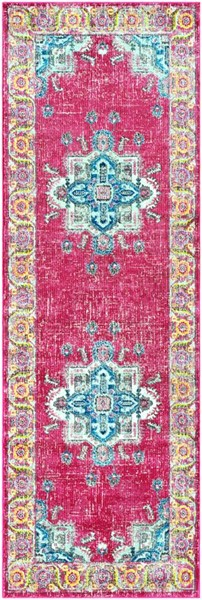 Surya Aura Silk Bright Pink Yellow Blue Polypropylene Runner - 90x31 ASK2312-2776