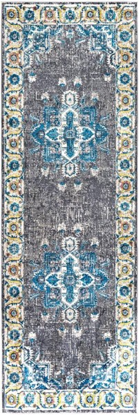 Surya Aura Silk Gray Blue Yellow White Polypropylene Runner - 90x31 ASK2314-2776