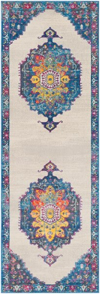 Surya Aura Silk Blue Yellow Pink White Polypropylene Runner - 90x31 ASK2320-2776