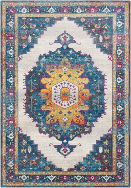 Surya Aura Silk Blue Yellow Pink White Polypropylene Area Rug - 123x94 ASK2320-710103