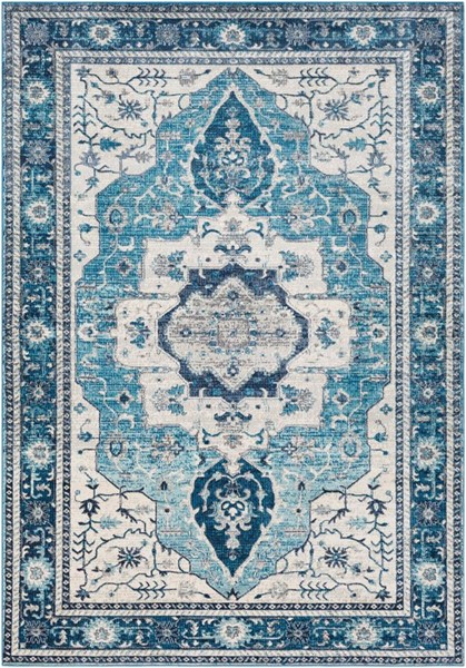 Surya Aura Silk Bright Blue Navy White Gray Polypropylene Area Rug - 36x24 ASK2329-23