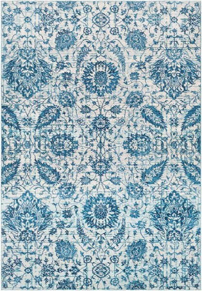 Surya Aura Silk Bright Blue White Charcoal Polypropylene Area Rug - 123x94 ASK2330-710103