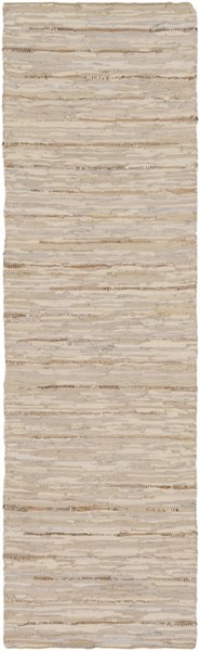 Surya Anthracite Cream Khaki Blue Silver Leather Runner - 96x30 ATE8000-268
