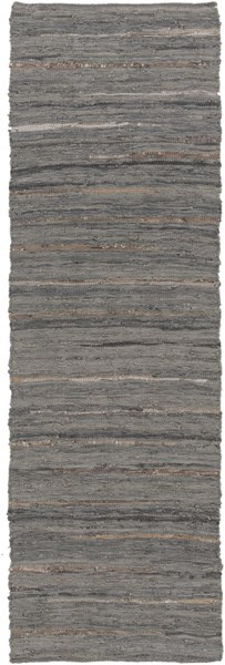 Anthracite Moss Gray Gold Leather Striped Runner (L 96 X W 30) ATE8001-268