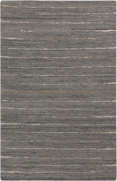 Anthracite Moss Gray Gold Leather Striped Area Rug (L 90 X W 60) ATE8001-576
