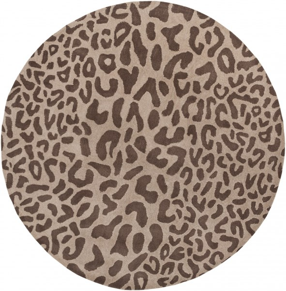 Athena Taupe Chocolate Wool Round Area Rug - 72 x 72 ATH5000-6RD