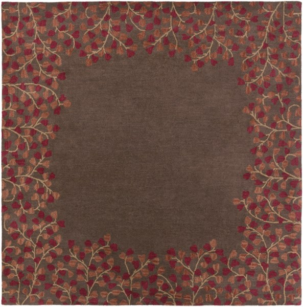 Athena Chocolate Burgundy Rust Gold Wool Square Area Rug - 96 x 96 ATH5003-8SQ