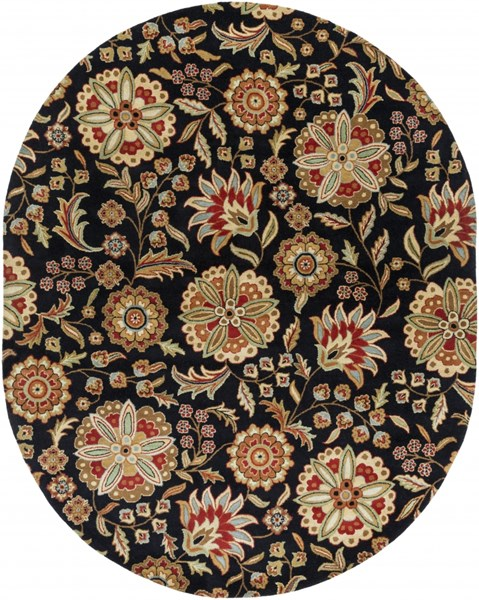 Surya Athena Black Garnet Green Brown Khaki Wool Oval Area Rug - 96x120 ATH5017-810OV