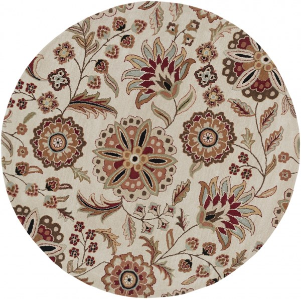 Athena Chocolate Taupe Gold Olive Gray Wool Round Area Rug - 72 x 72 ATH5035-6RD