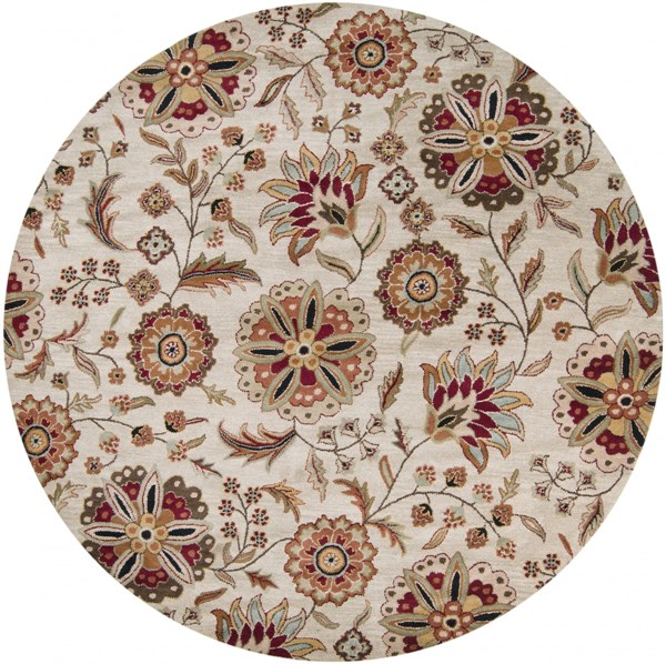 Surya Athena Dark Brown Red Tan Olive Wool Round Area Rug - 96x96 ATH5035-8RD