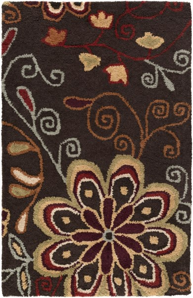 Athena Contemporary Chocolate Olive Mocha Wool Area Rugs 1167-VAR1