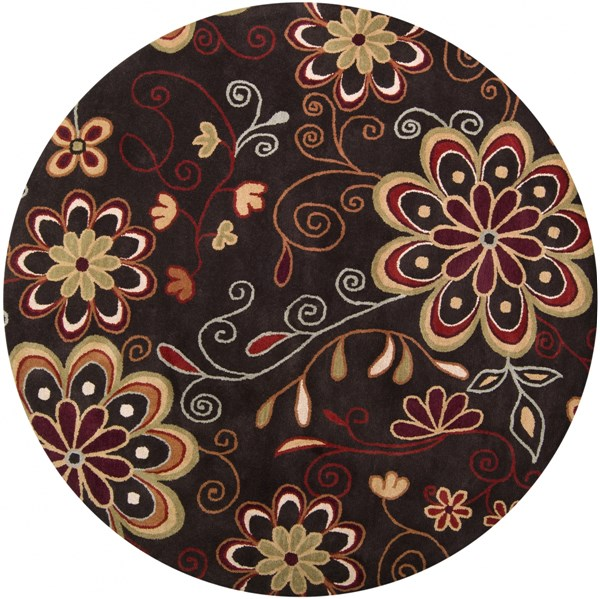 Athena Chocolate Burnt Orange Olive Mocha Wool Round Area Rug-96x96 ATH5037-8RD