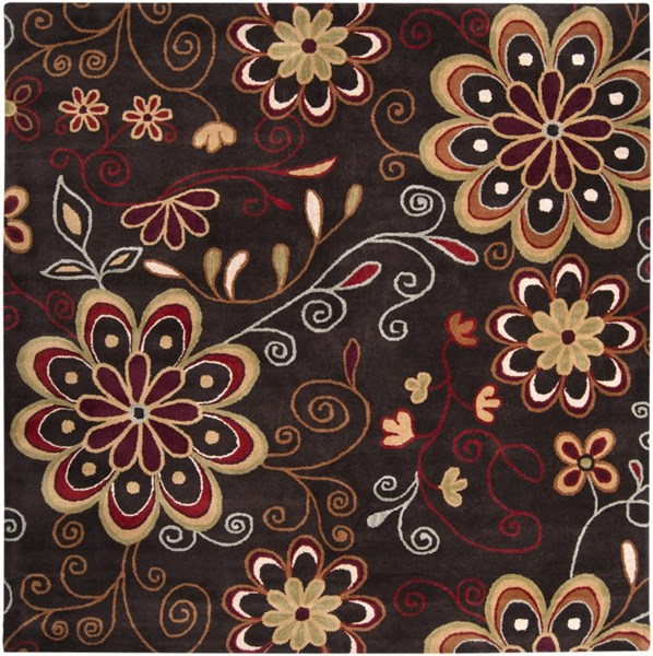Athena Chocolate Burnt Orange Olive Mocha Wool Square Area Rug-96x96 ATH5037-8SQ