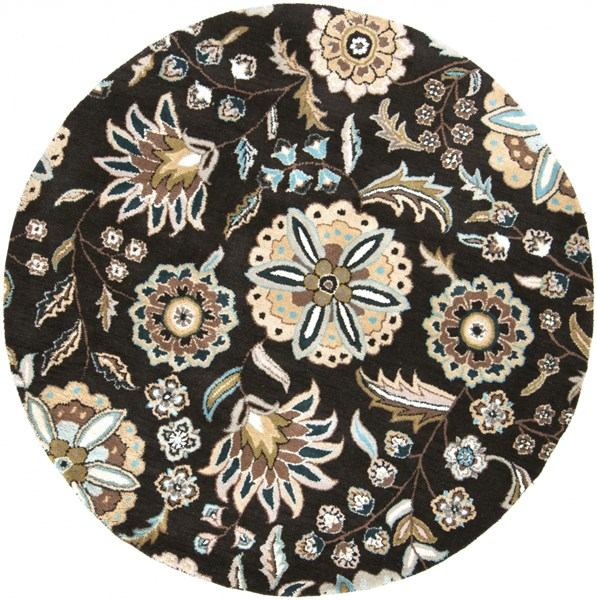 Athena Black Taupe Light Gray Ivory Wool Round Area Rug - 72 x 72 ATH5061-6RD