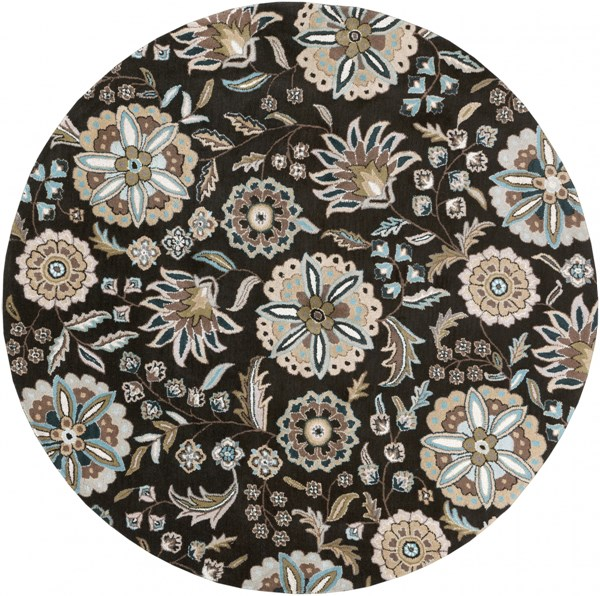 Athena Black Taupe Light Gray Ivory Wool Round Area Rug - 96 x 96 ATH5061-8RD