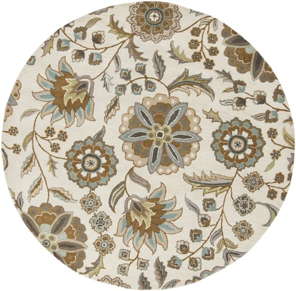 Athena Slate Olive Gray Moss Taupe Beige Wool Round Area Rug - 72 x 72 ATH5063-6RD