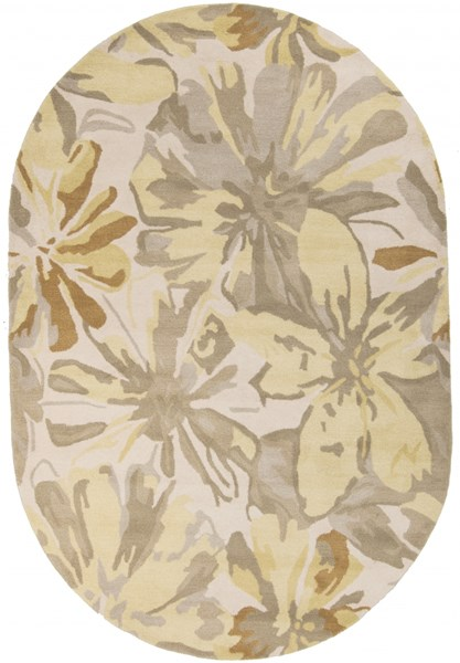 Athena Gold Butter Gray Olive Wool Oval Area Rug - 72 x 108 ATH5071-69OV