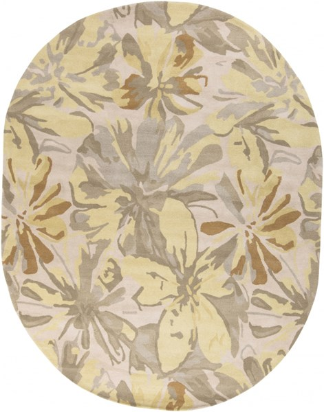 Athena Gold Butter Gray Olive Wool Oval Area Rug - 96 x 120 ATH5071-810OV