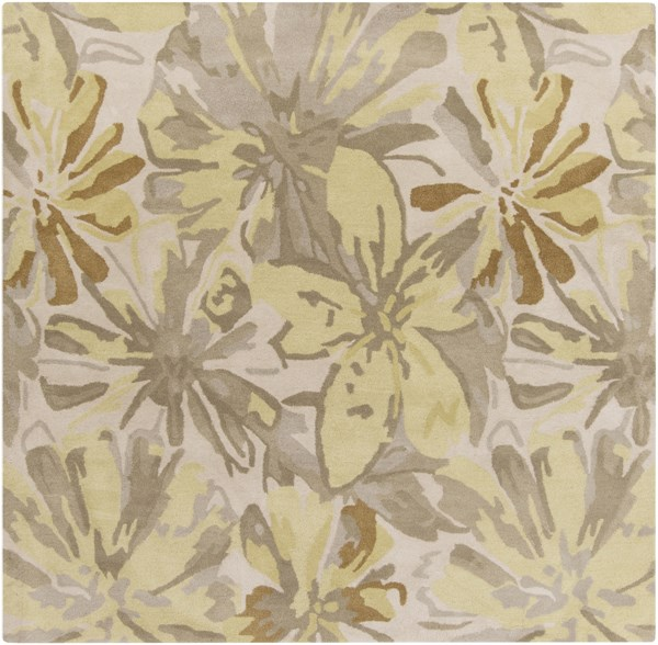 Surya Athena Lime Butter Taupe Tan Wool Square Area Rug - 48x48 ATH5071-4SQ